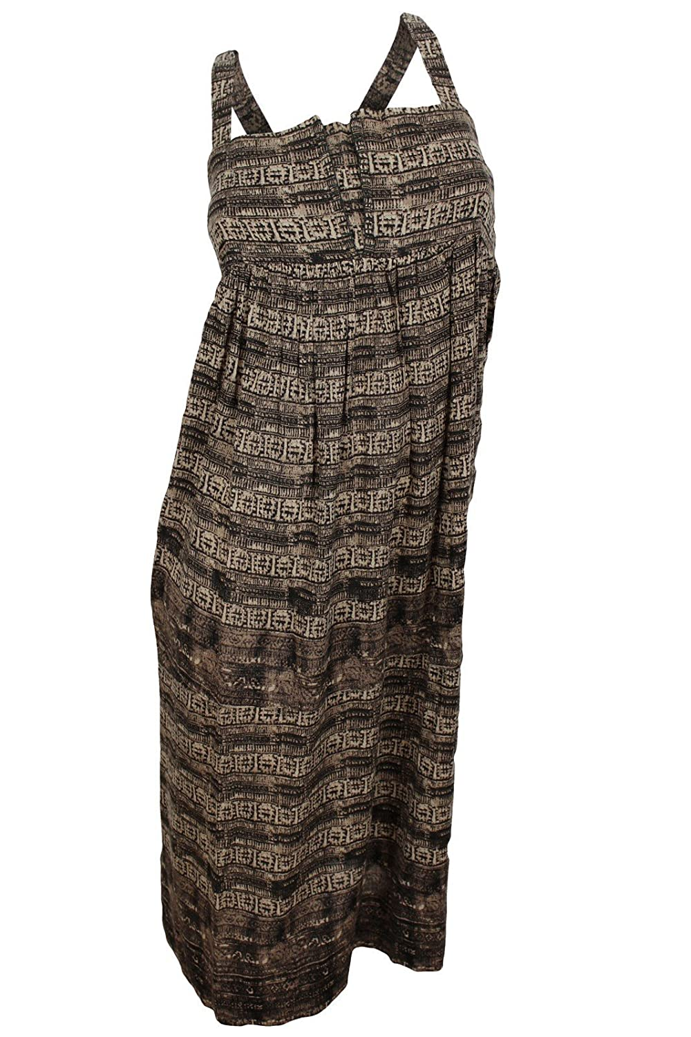 Free People Women's Brown Abstract Striped Sundress