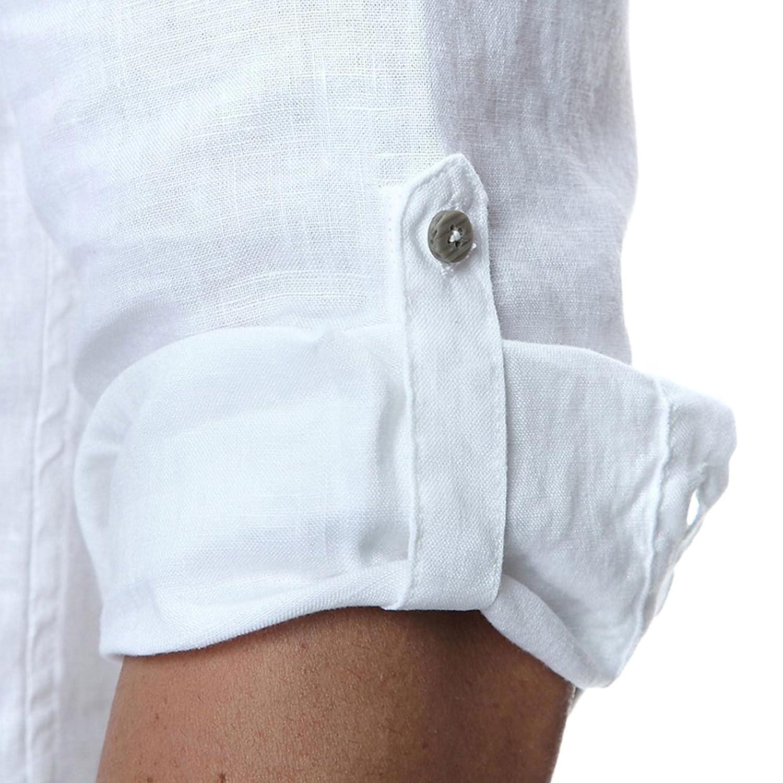 Najia Symbol Camicia Uomo 100/% Lino Senza Colletto Maniche 3//4 Slim Fit Coreana Shirt Henley 338