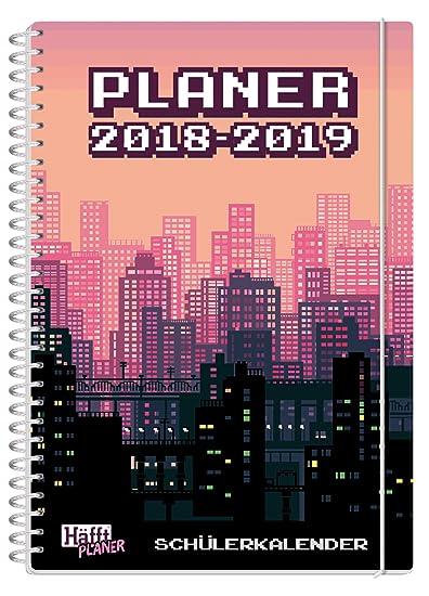 Häfft PLANER Premium A5 2018/2019 [8-Bit City] Spiralbindung mit Schutzdeckblättern, Hausaufgabenheft/Schülerkalender/Schüler-Tagebuch/Schülerplaner