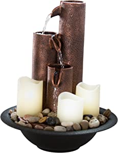 Indoor Water Fountain With LED Lights- Lighted Tired Column Tabletop Fountain With Candles and Soothing Sound for Office and Home Décor By Pure Garden