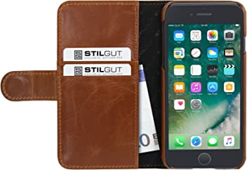 "StilGut Talis Case con Tasca per Carte, Custodia in Pelle Cover per iPhone 7 Plus & iPhone 8 Plus (5,5""). Chiusura a Libro Flip-Case in Vera Pelle Lavorata a Mano, Cognac"