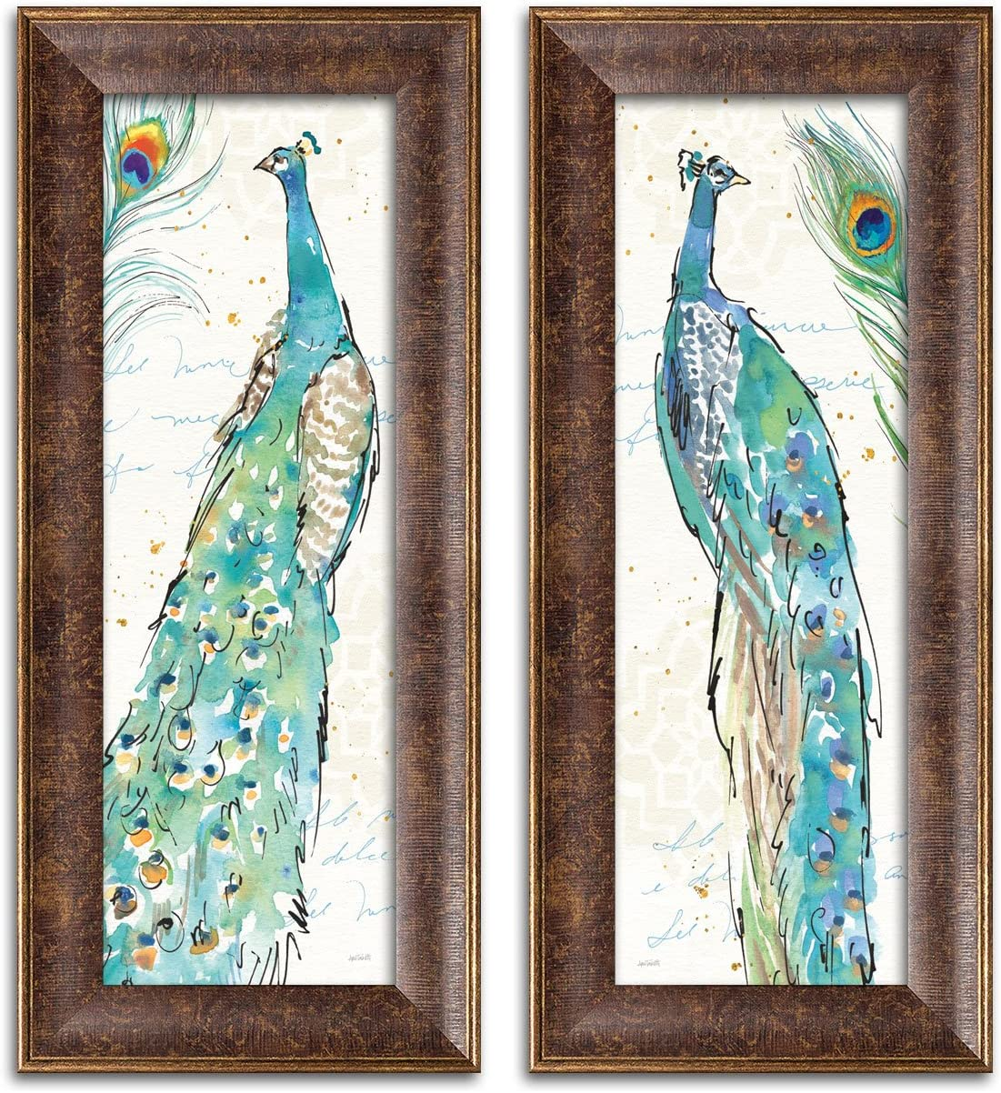 Gango Home Decor Contemporary Peacock Garden III & Peacock Garden IV by Anne Tavoletti (Ready to Hang); Two 8x20in Gold Trim Framed Prints