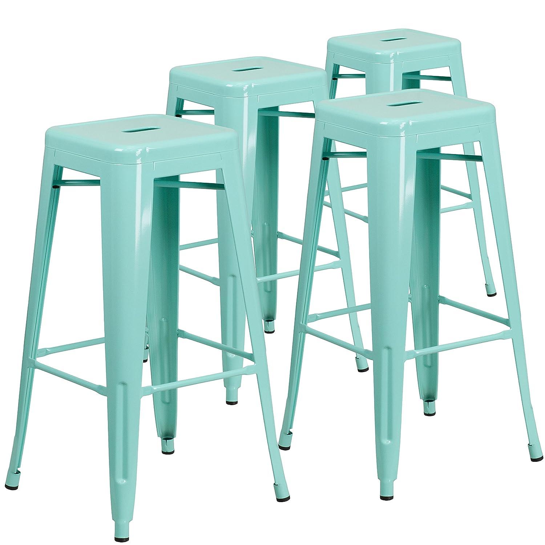 Amazon.com: Flash Furniture 4 Pk. 30\'\' High Backless Mint Green ...