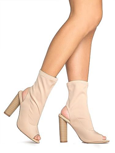 High Heel Peep Toe Slip-On Bootie – Trendy Ankle Cutout Scuba Boot – Women's Stacked Heel Open Toe –Lyla by
