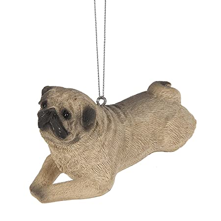Midwest-CBK Sitting Pug Dog Grey 3 x 3 Inch Resin Christmas Ornament Figurine