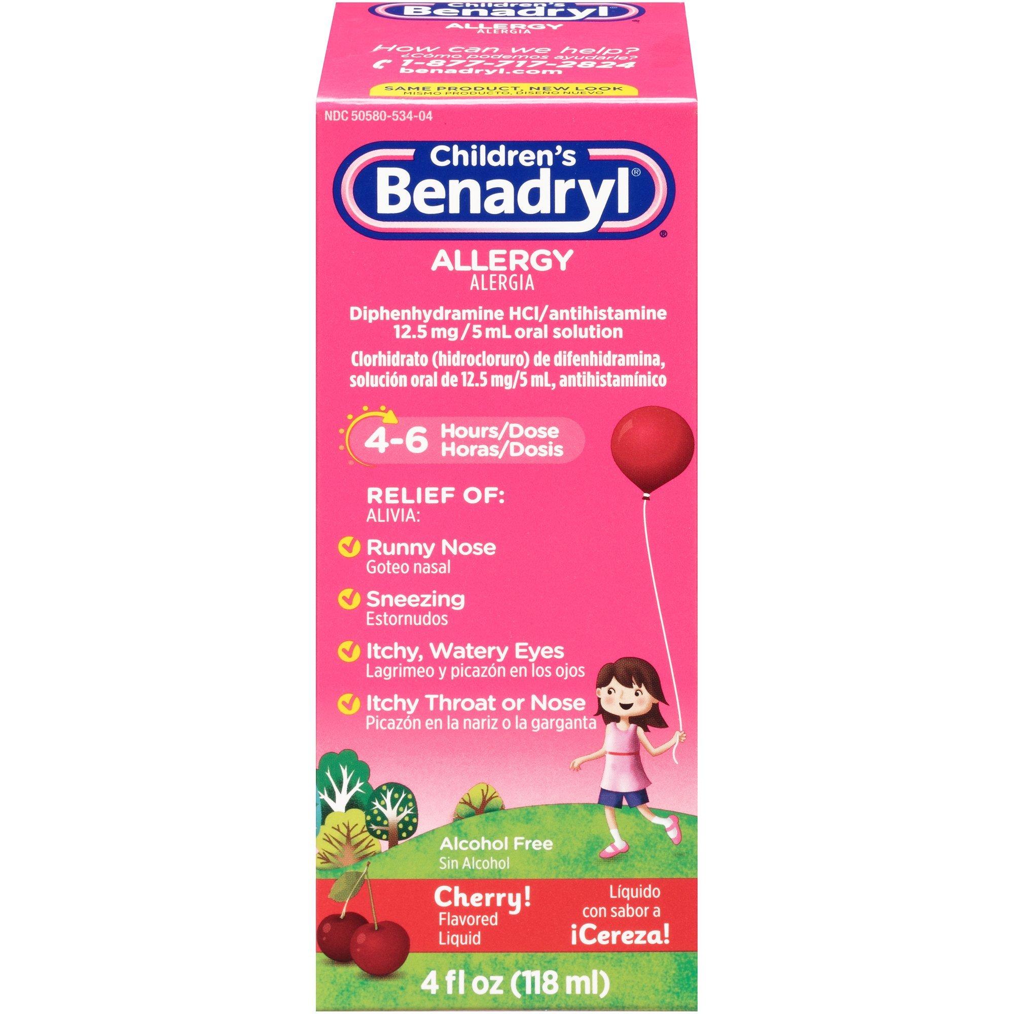 Benadryl Allergy Liquid Cherry For Children 4 oz (Pack of 24)