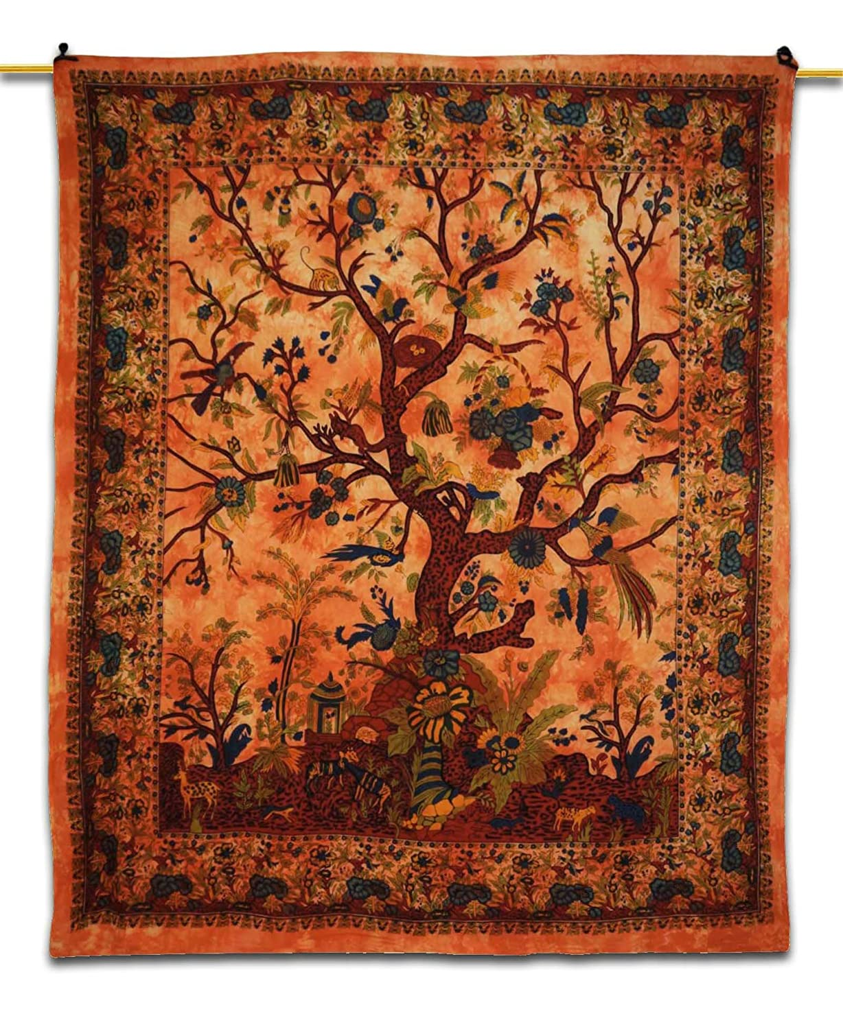 tree of life tapestry wall art hanging orange handmade bedsheet  - tree of life tapestry wall art hanging orange handmade bedsheet coverdecora amazoncouk kitchen  home