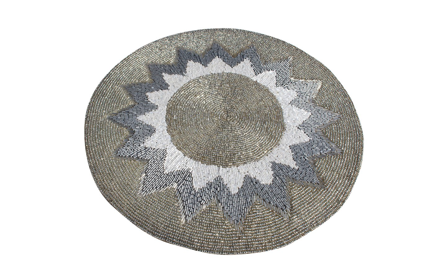 Glass Beaded Placemats Silver Sunflower Design Handcrafted Tabletop Decor Set of 6