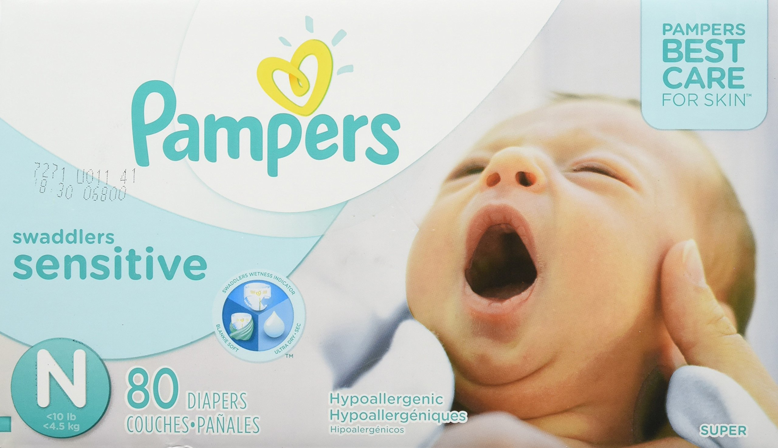 Pampers Swaddlers Sensitive Disposable Diapers  Newborn Size 0 (> 10 lb), 80 Count, SUPER