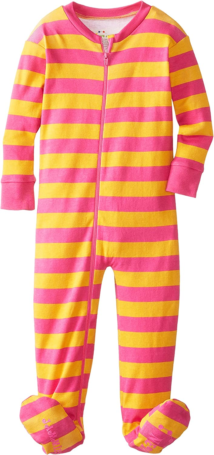 New Jammies Little Girls  Zippered Organic Classic Stripes Sleepers
