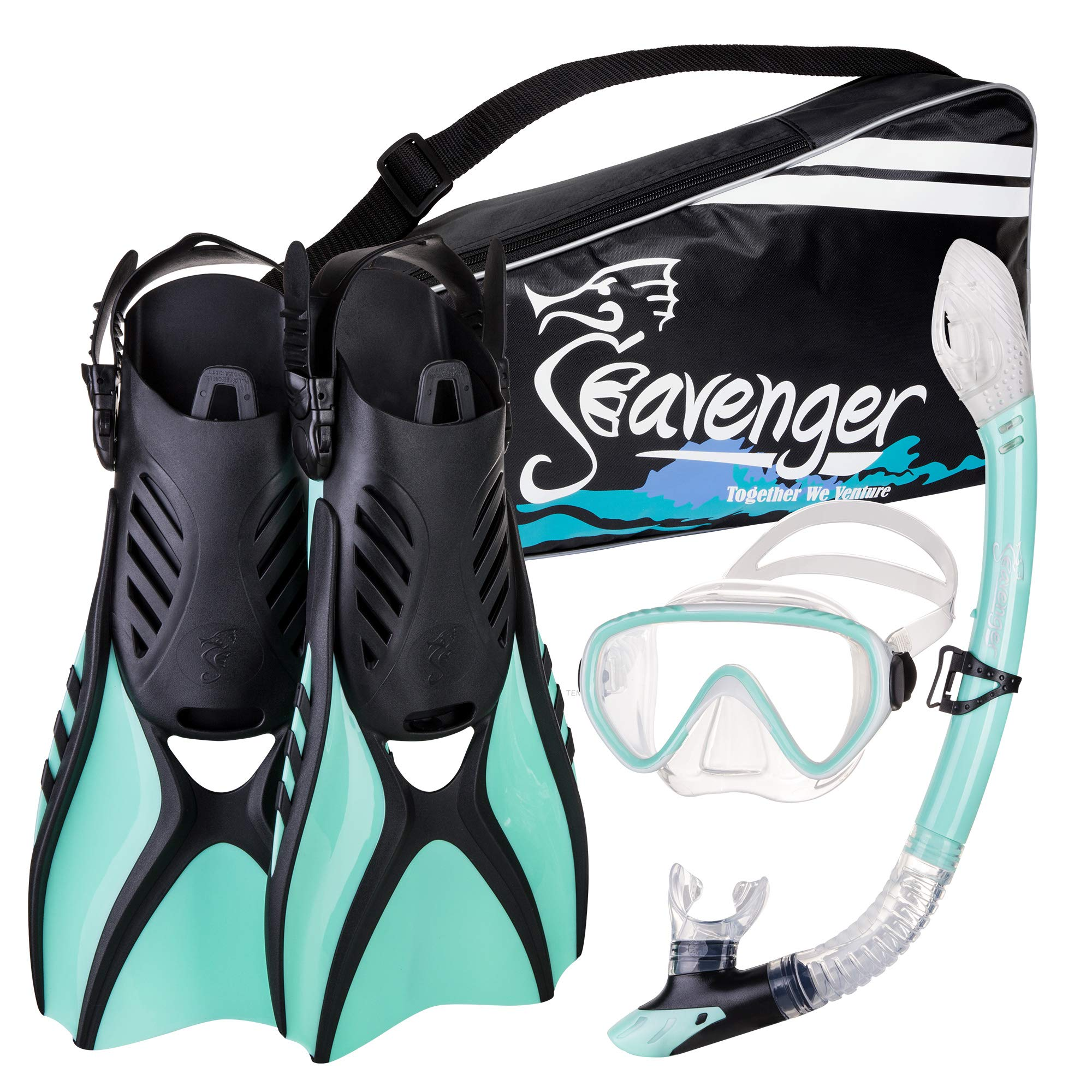 Seavenger Advanced Snorkeling Set with Panoramic Mask, Trek Fins, Dry Top Snorkel & Gear Bag (Mint, Small) by Seavenger