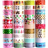 40 Rolls Pamapic Decorative Washi Tape Set 15 Millimeter - 40 Colors - Ideal for Birthday Gifts