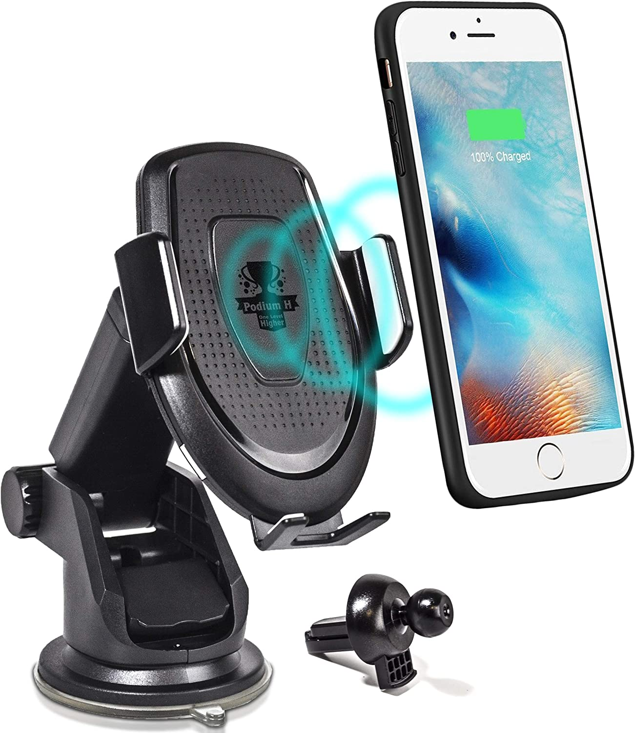 Car Cell Phone Wireless Charger Stand for Vehicle Dashboard and Air Vent 10W Fast Charging Dock Compatible wiPhone Xs|XS MAX|XR|X|8|8P