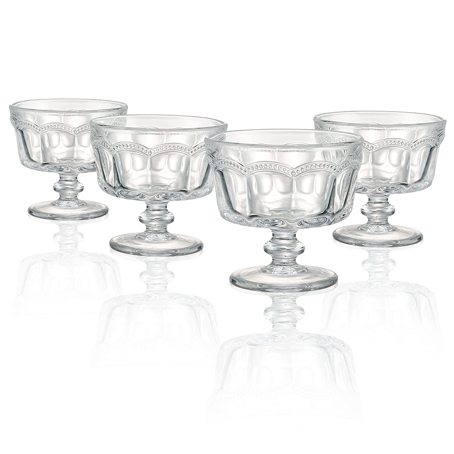 Artland Pearl Ridge Mini Trifle Bowls, Clear, Set of 4 30005