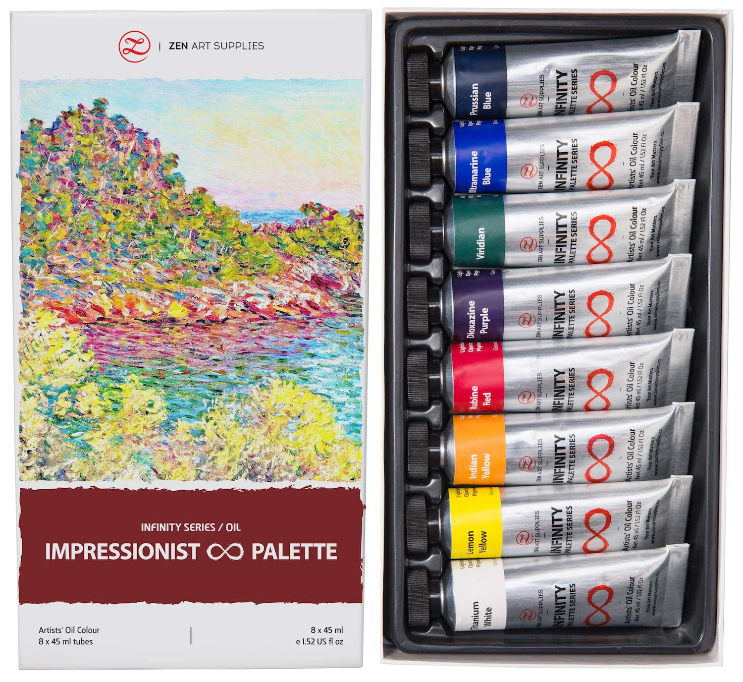 Oil Paints for Artists - 8 x Large 45ml Tubes - Impressionist Palette of Eco-Friendly, Non-Toxic, Lightfast Paint with Exceptional Pigment Load - The Infinity Series by ZenART by ZenART Supplies