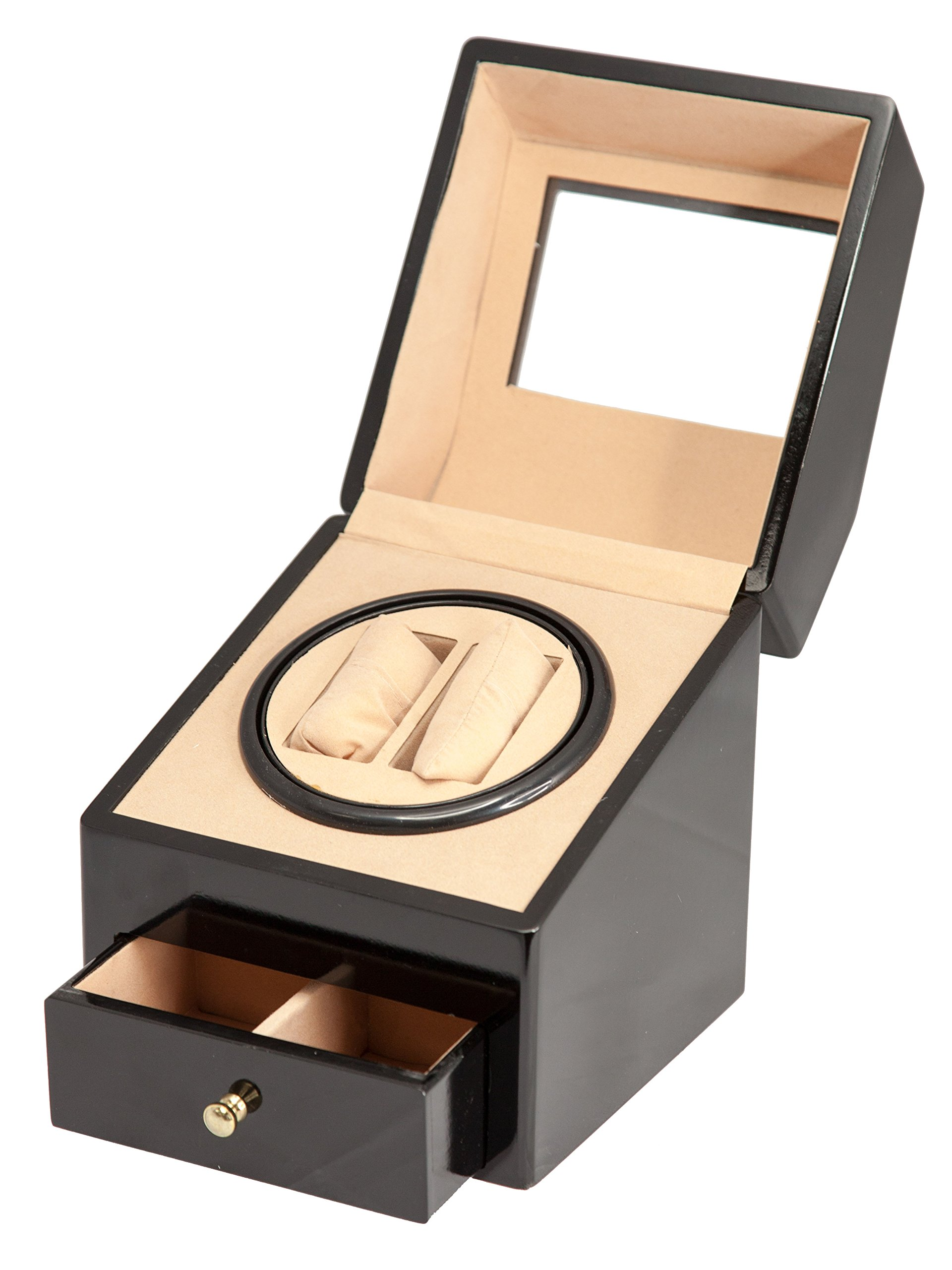 BLACK WOOD 2+2 AUTOMATIC DOUBLE / DUAL WATCH WINDER DISPLAY STORAGE BOX BATTERY OR AC/DC