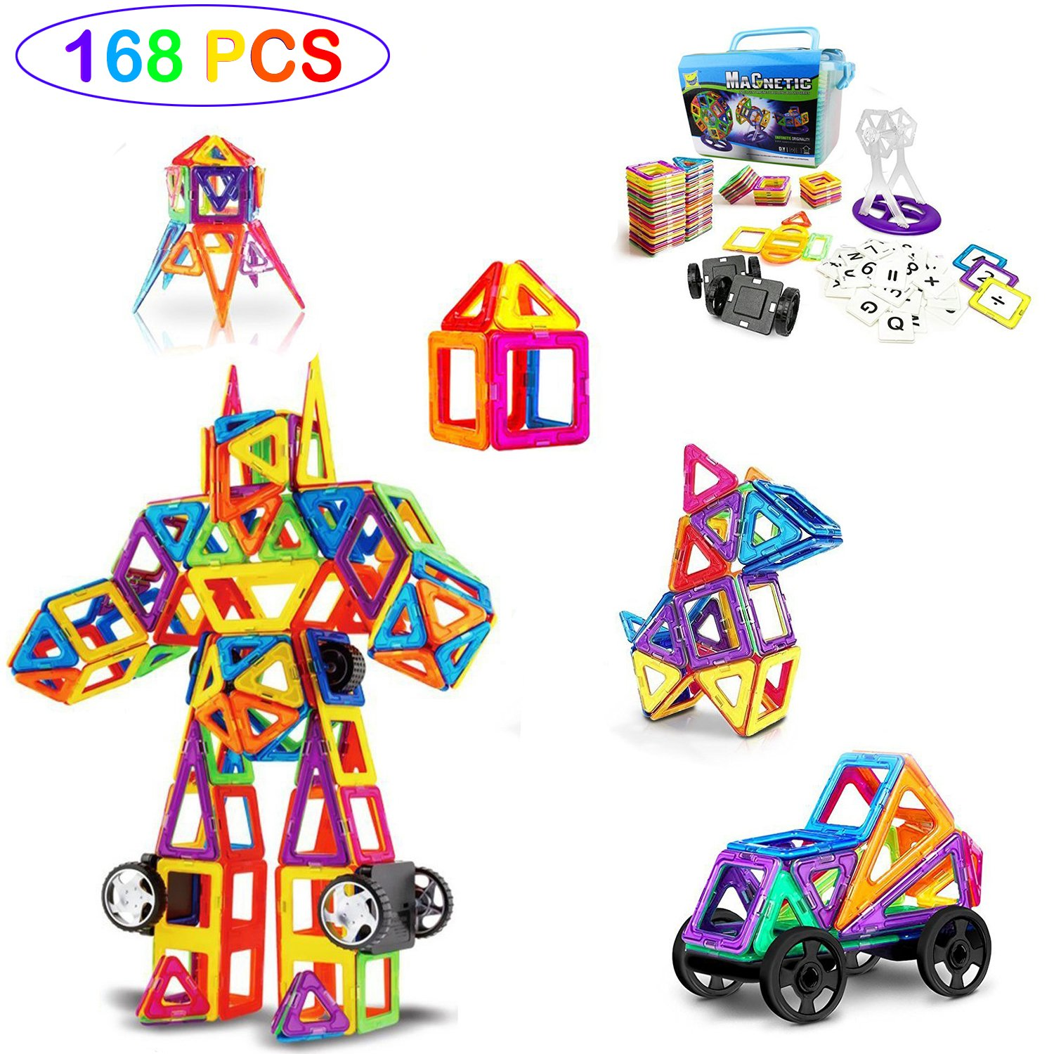 Magnetic Building Blocks For Pre-Kindergarten Toys , Magnet Tiles Educational Stacking Building Set With Storage Box , Creativity beyond Imagination, Inspirational , For Boys Girls , Age 3+ (168)