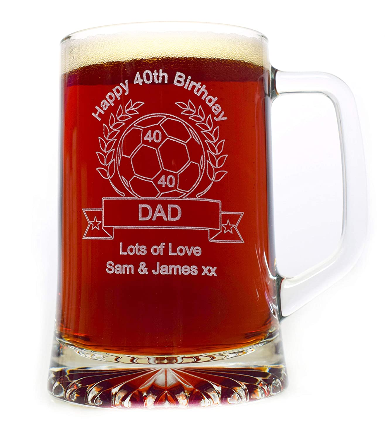 Engraved/Personalised Birthday Football Pint Glass Tankard Gift for Boys/Men/18th/21st/30th/40th/50th/60th/65th/70th/80th/Step Dad/Daddy/Husband CR8 A GIFT