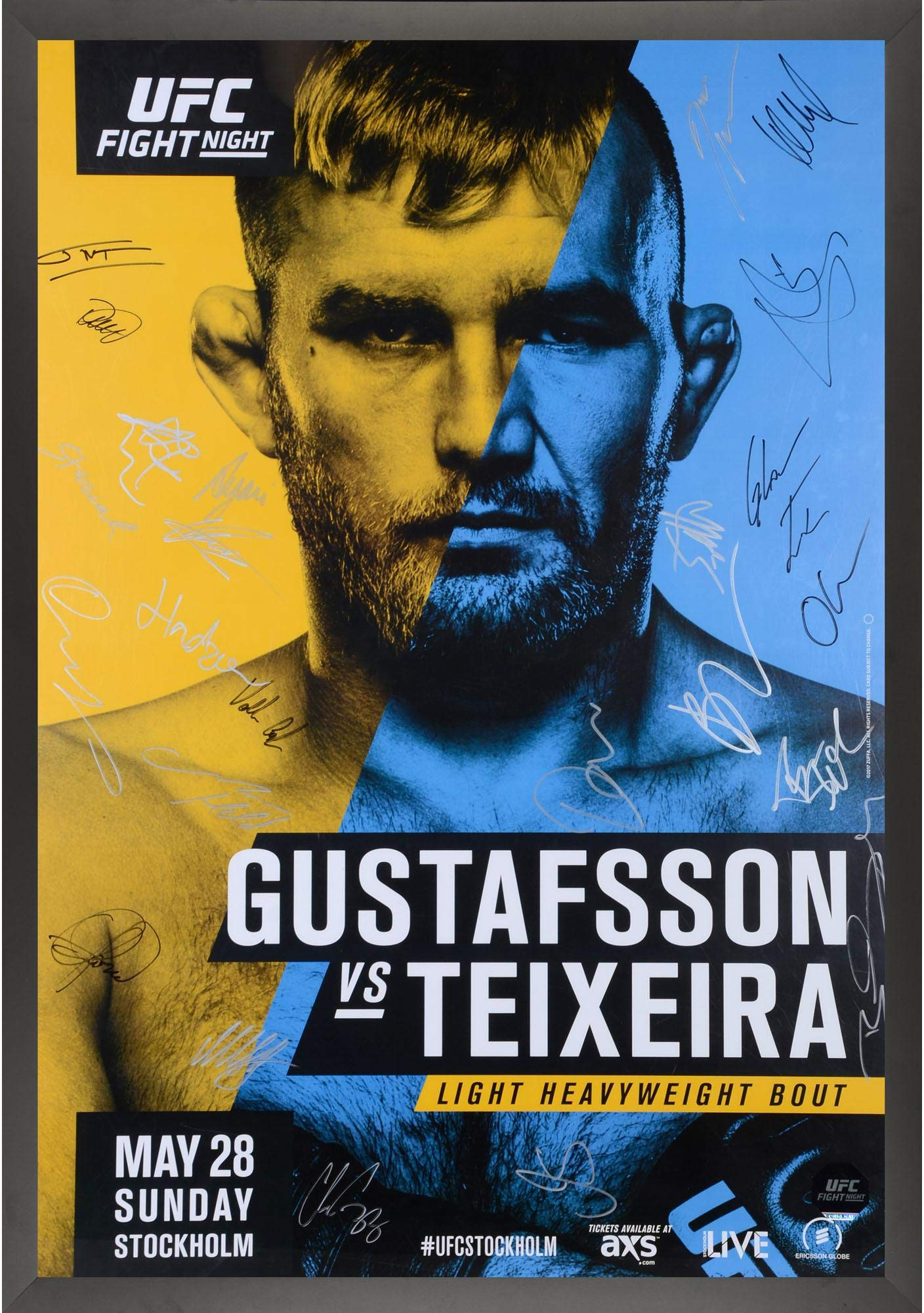 """UFC Fight Night 109 Gustafsson vs. Teixeira Framed Autographed 27"""" x 39"""" 24 Signature Fight Poster Fanatics Authentic Certified"""