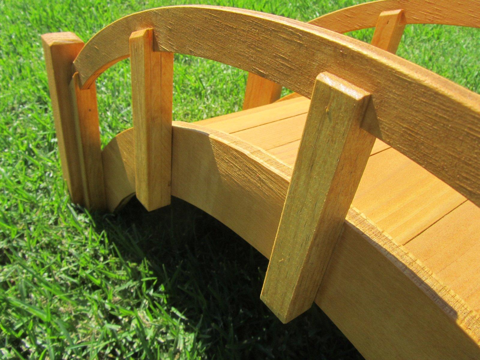 SamsGazebos Miniature Japanese Waterproofed Wood Garden Bridge, 25-Inch, Tan by SamsGazebosTM (Image #2)