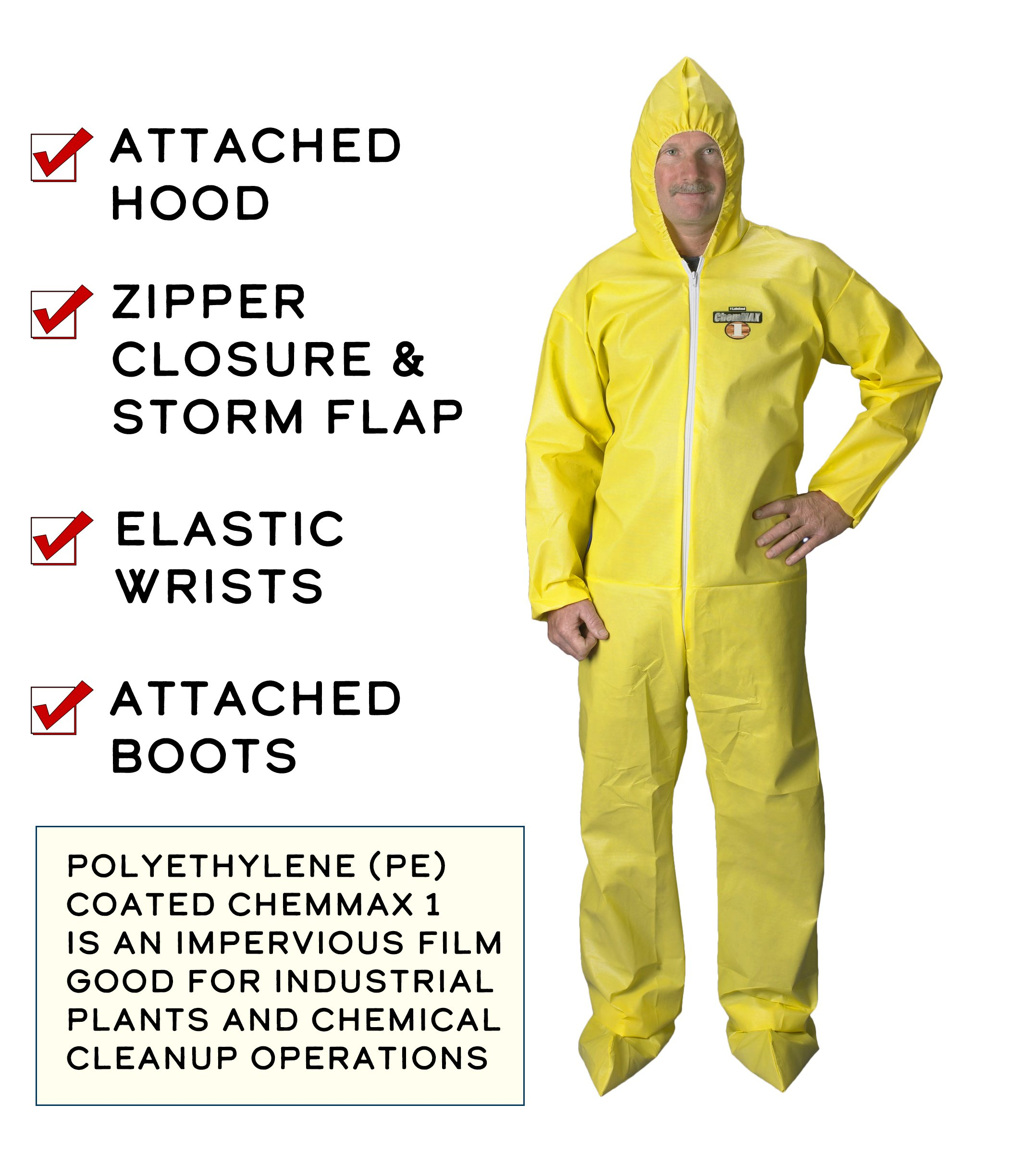 Lakeland ChemMax 1 Polyethylene/Polypropylene Serged Seam Disposable Coverall with Hood and Boots, Elastic Cuff, 2X-Large, Yellow (Case of 25) by Lakeland Industries Inc (Image #2)