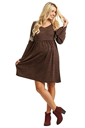 494cad4940 PinkBlush Maternity Knit Crochet Accent Bell Sleeve Dress at Amazon ...