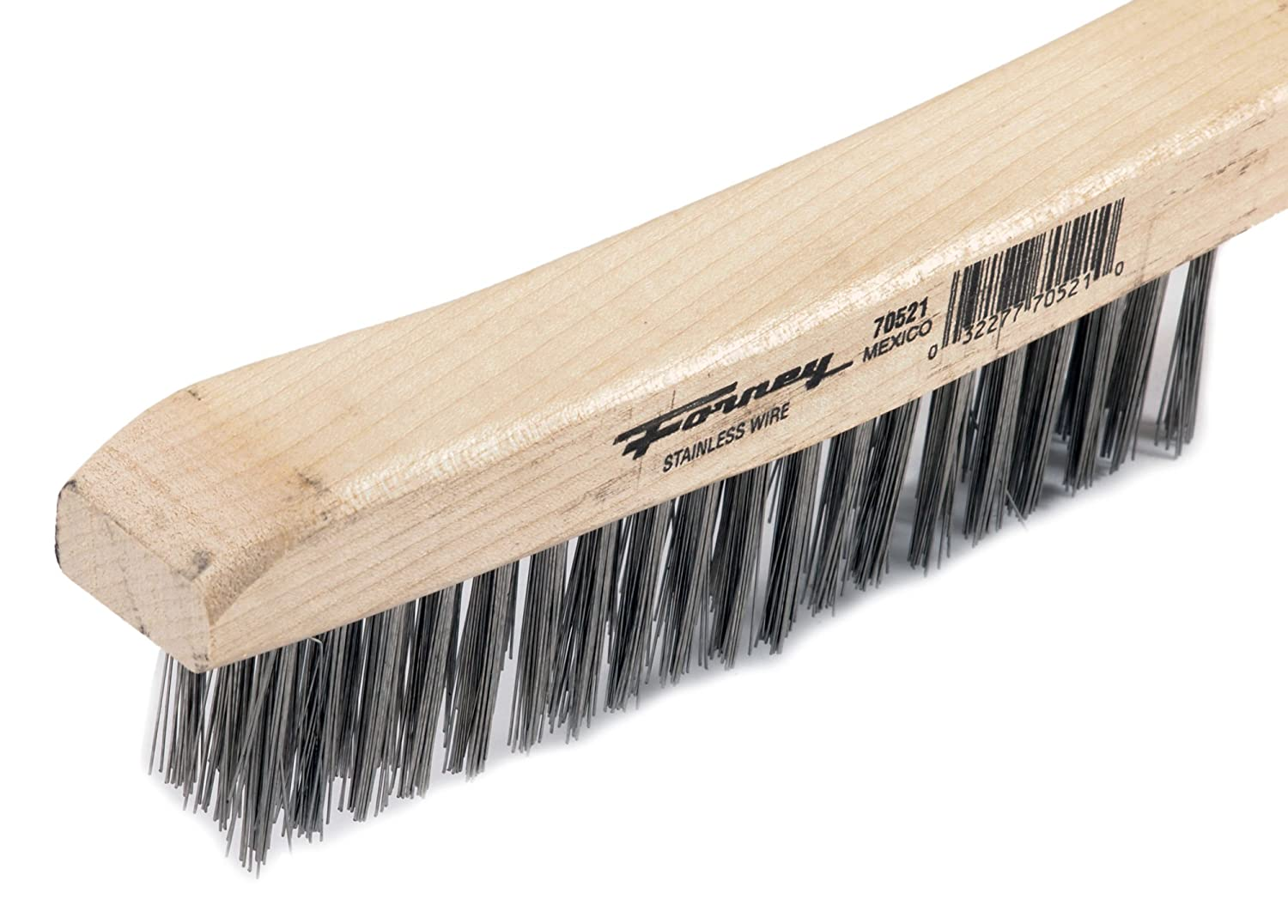 Pack of 1 13-3//4-Inch-by.014-Inch Forney 70504 Wire Scratch Brush Carbon Steel with Curved Wood Handle