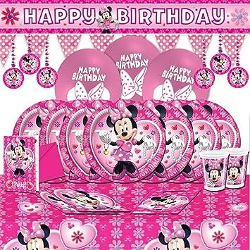 Kit De Décoration Anniversaire Minnie Mouse Pour 18 Amazonfr Jeux
