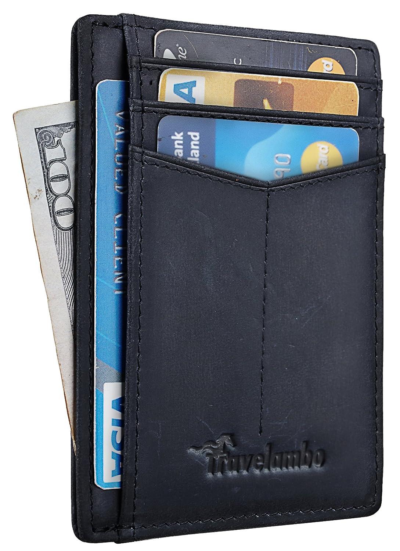 Travelambo Minimalist Slim Front Pocekt Wallet for Men and Women RFID Blocking tra175