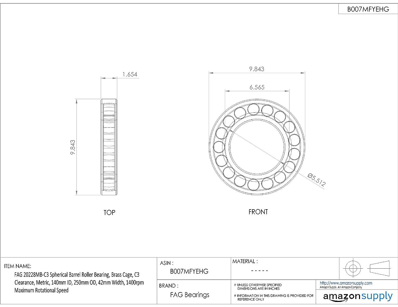 42mm Width Metric 140mm ID Brass Cage 20228MBC3 250mm OD C3 Clearance 1400rpm Maximum Rotational Speed Schaeffler Technologies Co FAG 20228MB-C3 Spherical Barrel Roller Bearing