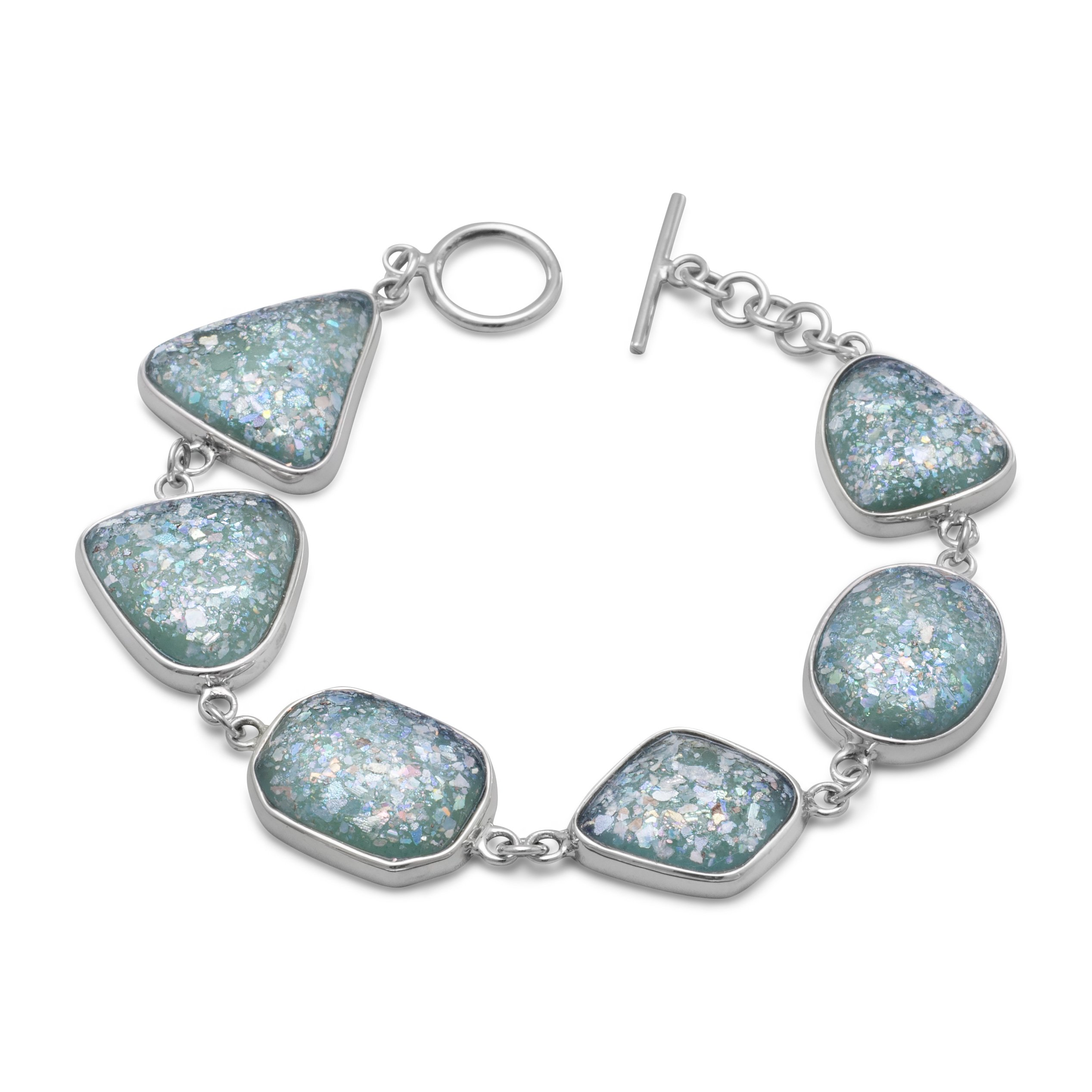 925 Sterling Silver 7 Inch Roman Glass Toggle Bracelet