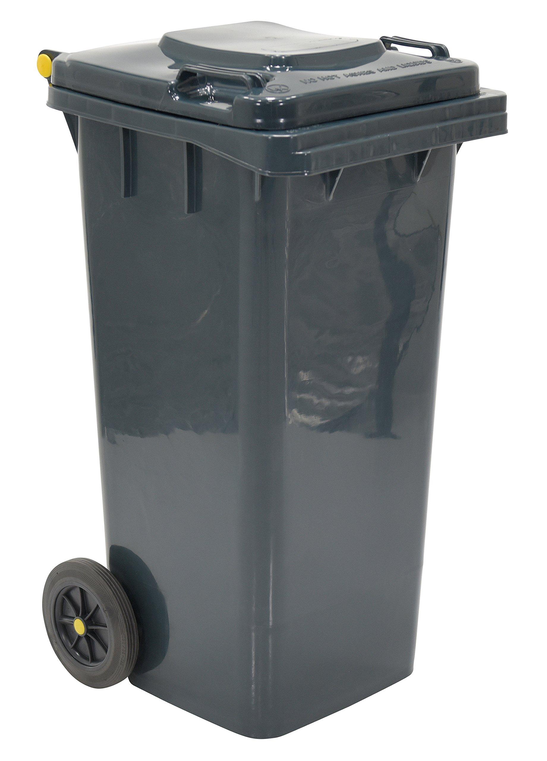 Vestil TH-32-GY Polyethylene 32-Gallon Trash Can, 22'' Length x 37-1/2'' Height, Gray