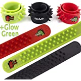 Dragon/ Dinosaur Silicone Spike Bracelets - Red, Black and Glow in The Dark Green - 3 Sensory Fidget Toys - Calming Stress Relief Toys for Kids