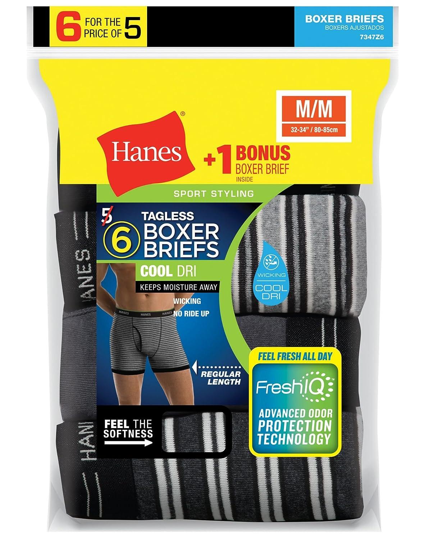 Hanes Men's 6-Pack Striped Sport Boxer Briefs (5 + 1 Free Bonus Pack) 7347Z6