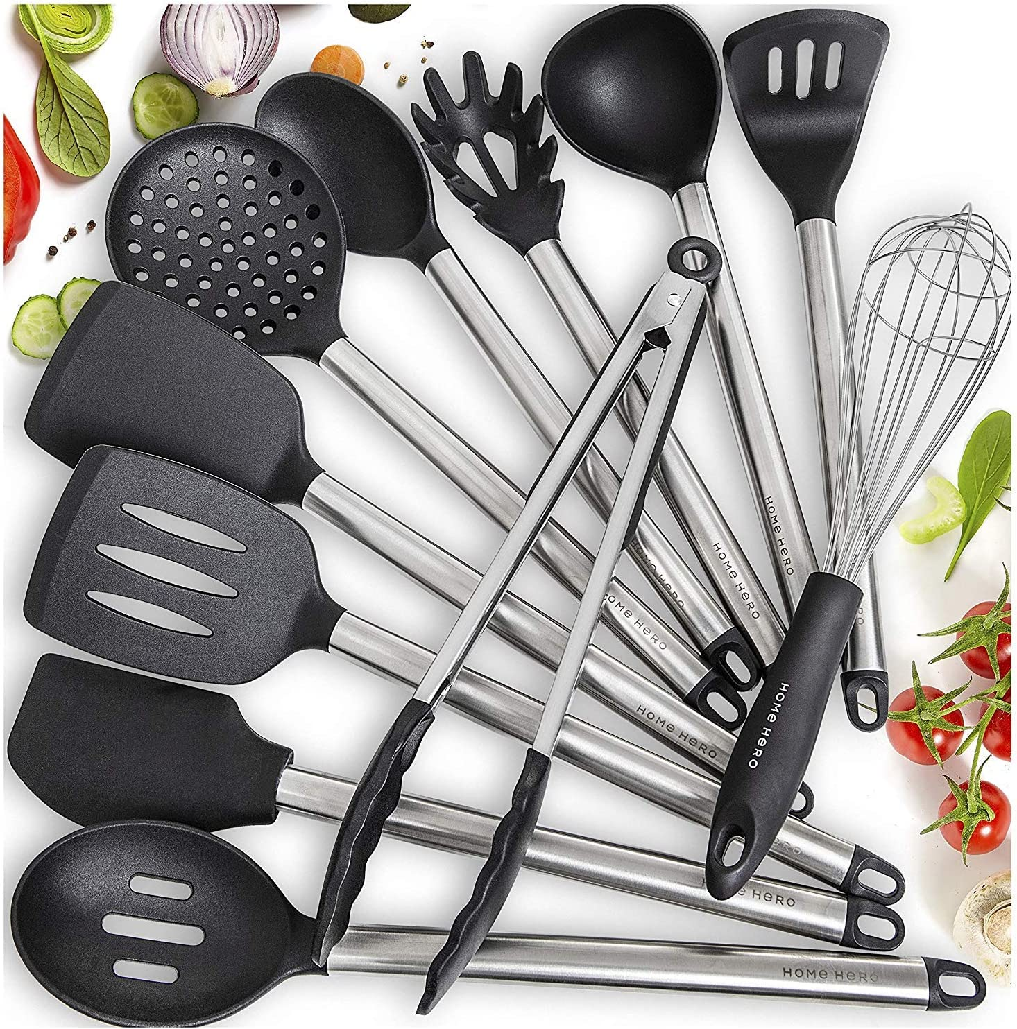 Home Hero 11 Silicone Cooking Utensils Kitchen Utensil Set - Stainless Steel Silicone Kitchen Utensils Set