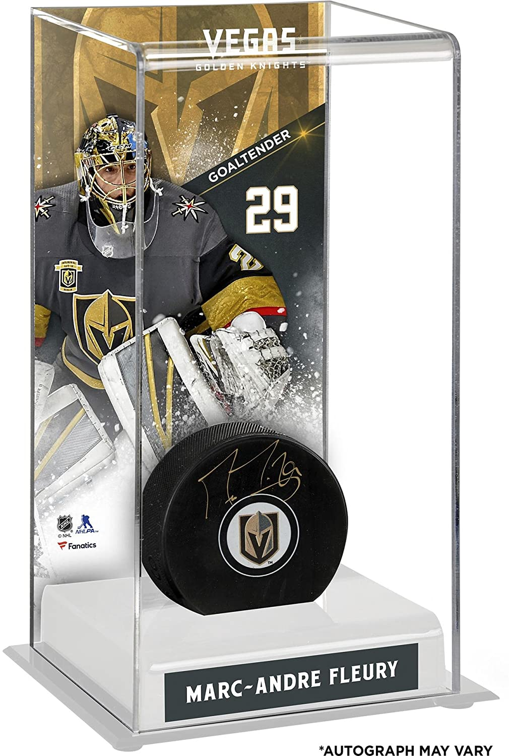 Marc-Andre Fleury Vegas Golden Knights Autographed Puck with Deluxe Tall Hockey Puck Case Fanatics Authentic Certified