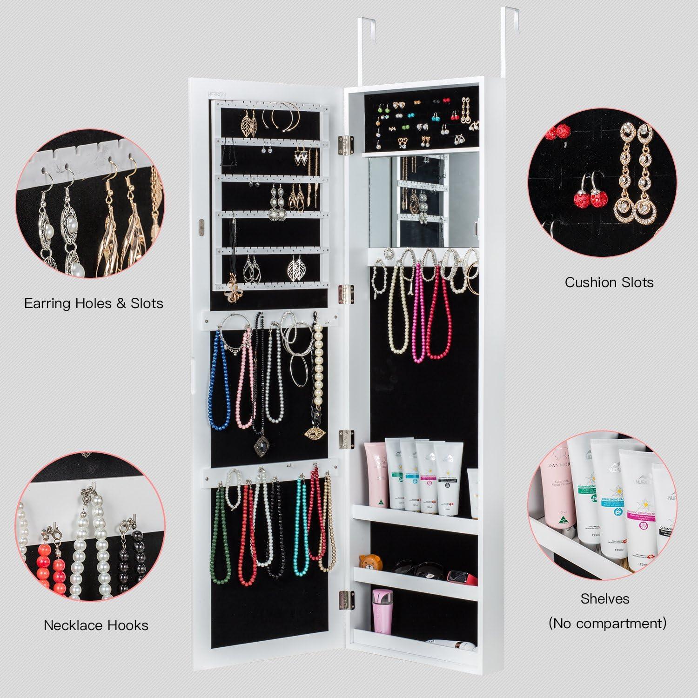 Herron Wall Jewelry Cabinet Armoire with Mirror Door or ...