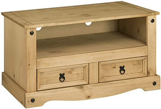 Birlea Corona - Mesa para televisor (2 cajones, madera de pino encerada, 24kg): Amazon.es: Hogar