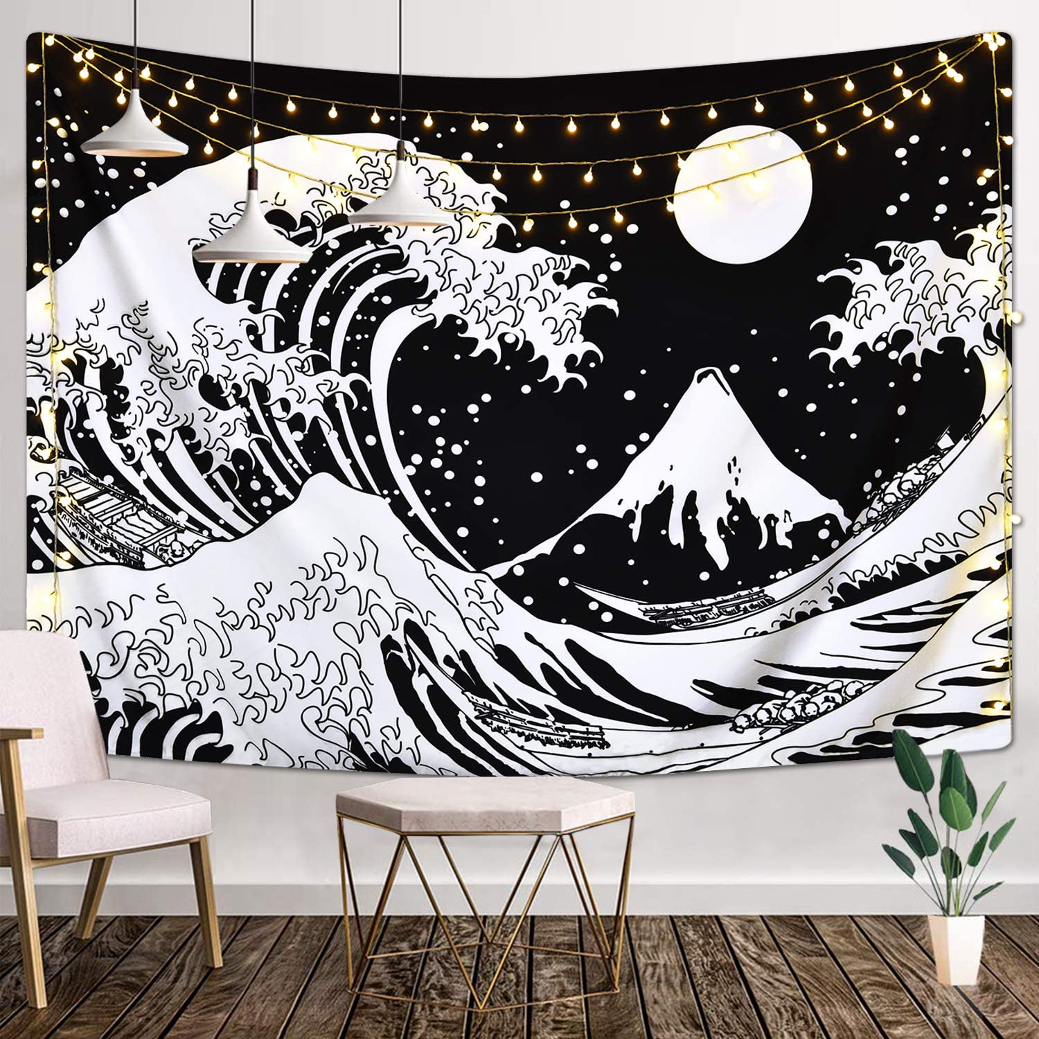 Japanese Wave Tapestry,Kanagawa Great Wave Wall Tapestry, Wave Tapestry with Sun Tapestries, Black and White Tapestry for Room