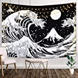 Japanese Wave Tapestry,Kanagawa Great Wave Wall Tapestry, Wave Tapestry with Sun Tapestries, Black and White Tapestry…