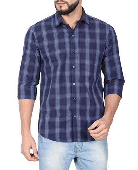 d9bc8284 McHenry Mens 100% Cotton Regular Fit Blue Casual Wear, Checkered Shirt (YBC8015-
