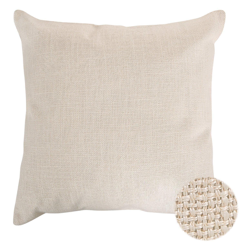 Deconovo 上質織りフェイクリネン ホームデコ 手作り枕カバー クッションカバー 隠れファスナー付き 18 x 18インチ 18x18 Inch ベージュ CS24323A B018E0O03A クリーム クリーム