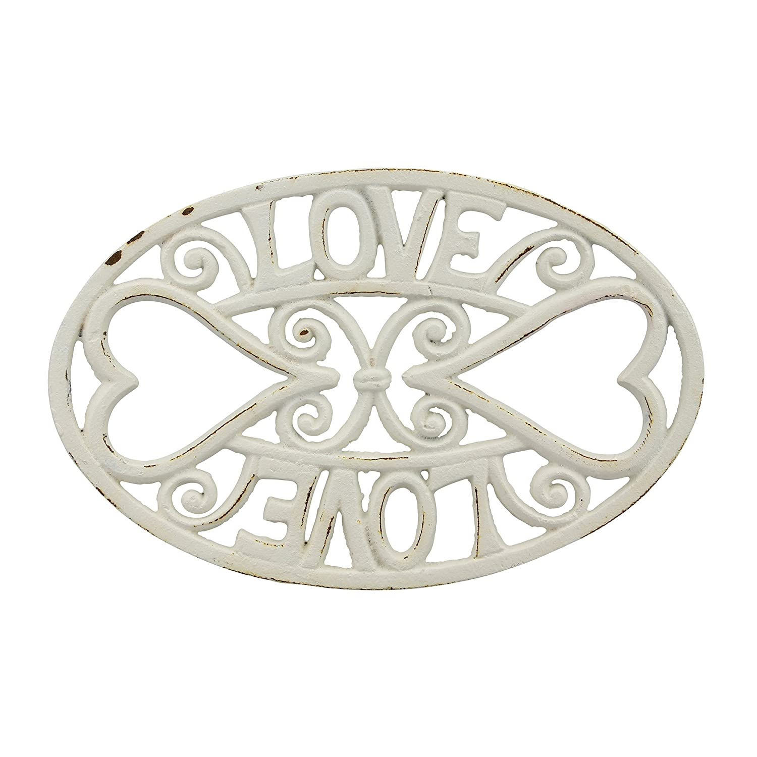 Stonebriar Oval Worn White Cast Iron Love Trivet with Heart Details and Heat Resistant Feet, Decorative Pot Holders, Heavy Duty Hot Plate for Teapots, Dutch Ovens, and Hot Dishes CKK Home Décor SB-6049A