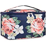 Travel Makeup Bag Large Cosmetic Bag Makeup Case Organizer for Women and Girls (Large, Blue Peony)