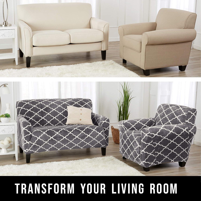 Amazon.com: Funda moderna para muebles, de felpa de ...