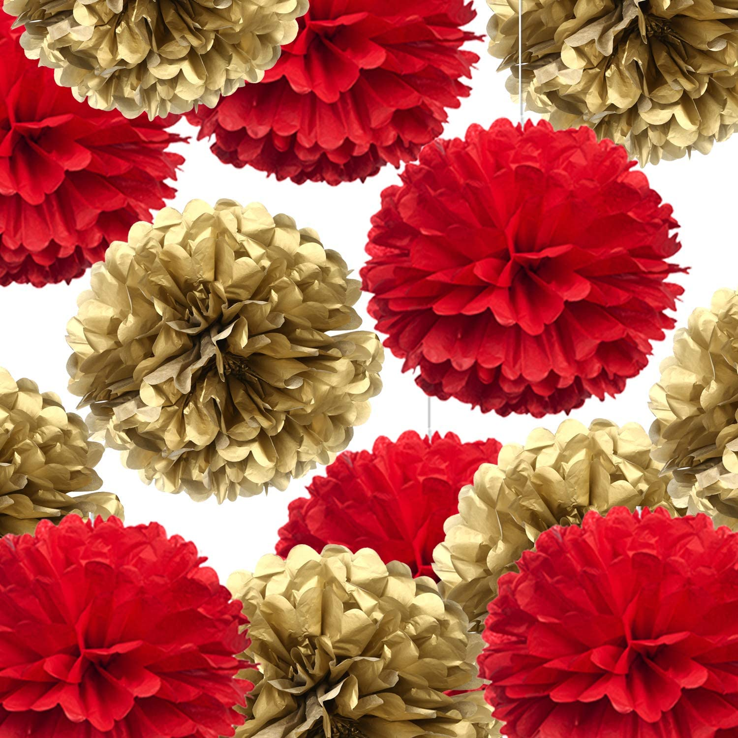 "14"" Red and Gold Tissue Pom Poms Kit DIY Decorative Paper Flowers Ball for Christmas New Years Eve Party Wedding Baby Shower Graduation Birthday Party Home Outdoor Hanging Decorations, Pack of 10"
