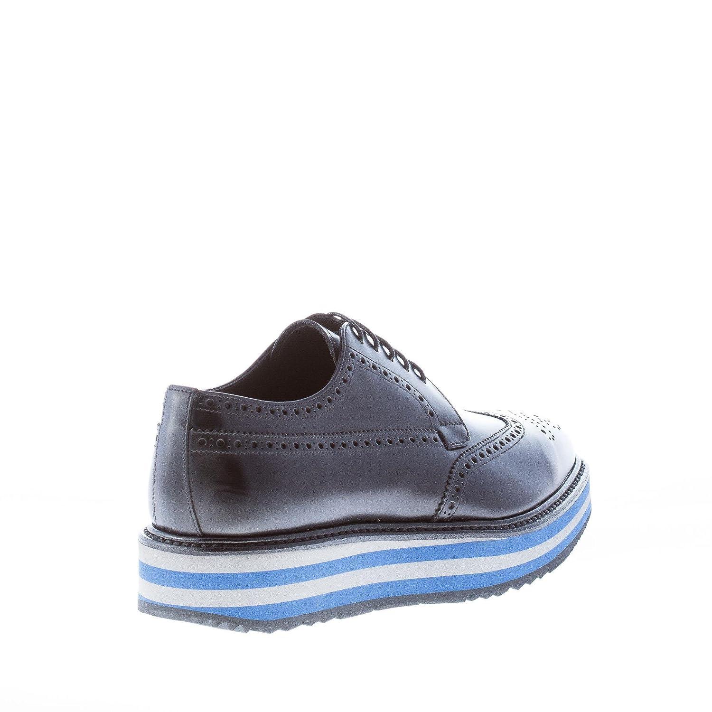 0a1ec110cc8 Prada Men Shoes Black Spazzolato Rois Leather Wingtip Derby Micro Platform   Amazon.co.uk  Shoes   Bags