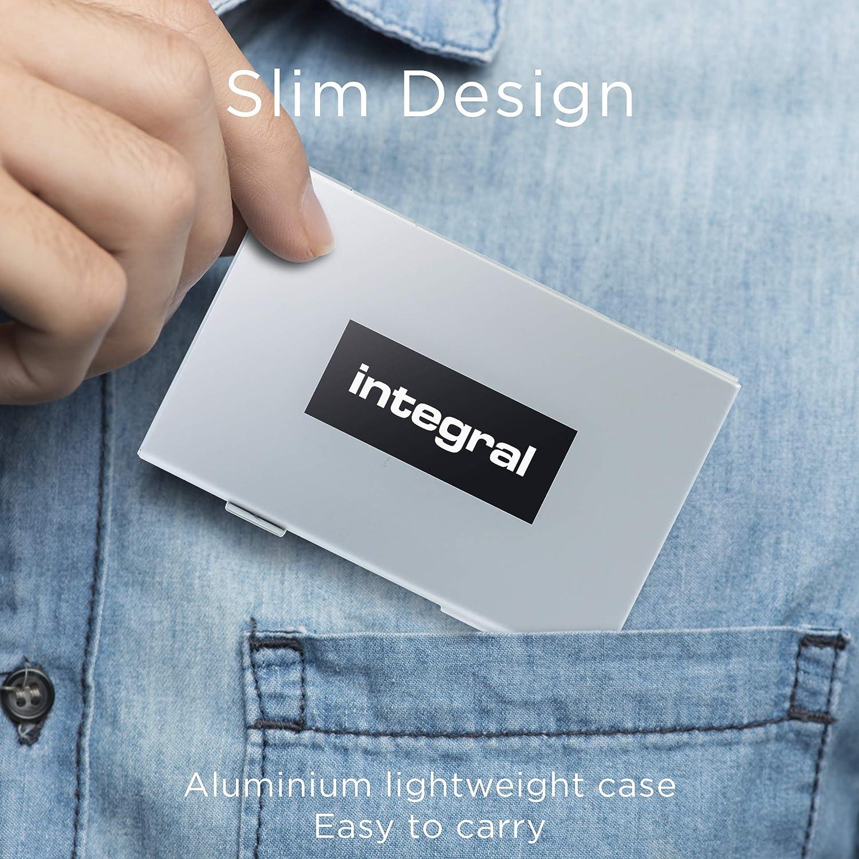 12 micro /& 3 SD Cards Integral Protective Aluminium SD /& MicroSD Card Carrying Case Silver INCARDCASE02
