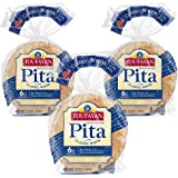 Toufayan Bakery, Classic Plain White Pita Bread for Sandwiches, Meats, Salads, Cheeses and Snacks, Naturally Vegan, Cholester