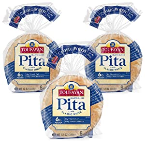 Toufayan Bakery, Classic Plain White Pita Bread for Sandwiches, Meats, Salads, Cheeses and Snacks, Naturally Vegan, Cholesterol Free and Kosher (White, 3 Pack)